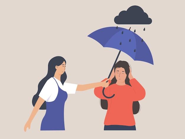 Meisje troost haar droevige vriend geestelijke gezondheid concept