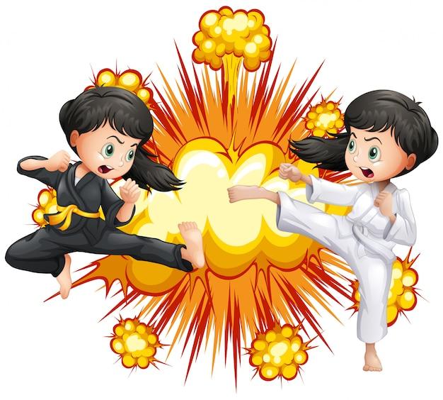 Meisje twee in kungfuuitrusting het vechten