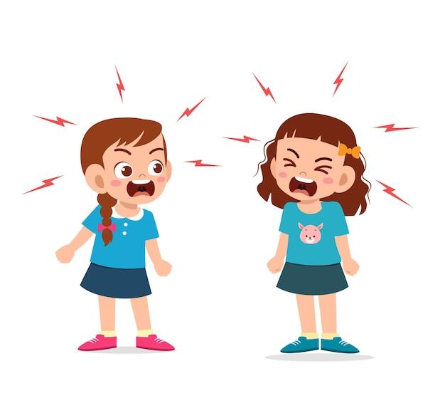 Meisje vecht en maakt ruzie met haar vriend