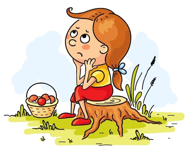 Meisje verdwaald in het bos