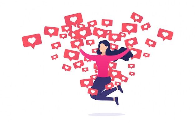 Meisje verheugt zich en springt van soortgelijke meldingen. internetverslaving aan andere gebruikers en hun goedkeuring.