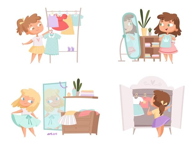 Meisje verkleden. moeder en dochter keuze kleding in kledingkast vrouwelijke persoon vector cartoon kinderen.