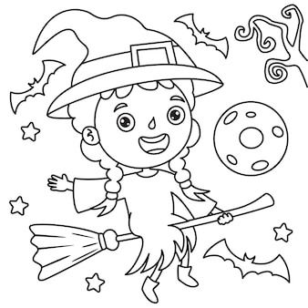 Meisje verkleed als een heks die op een bezem vliegt, line art drawing for kids coloring page