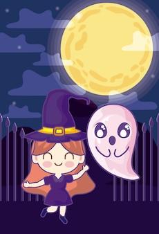 Meisje vermomd van heks op halloween-scène
