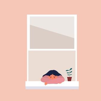 Meisje verveeld bij het raam omdat pandemie en lockdown illustratie