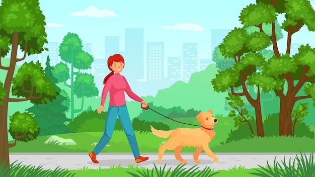 Meisje wandelen met hond. loop hond, jongedame vriendschap met huisdier, persoon buiten wandelen. vector illustratie