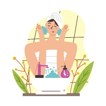 Meisje wast haar gezicht. ochtend routine. moderne platte vectorillustratie