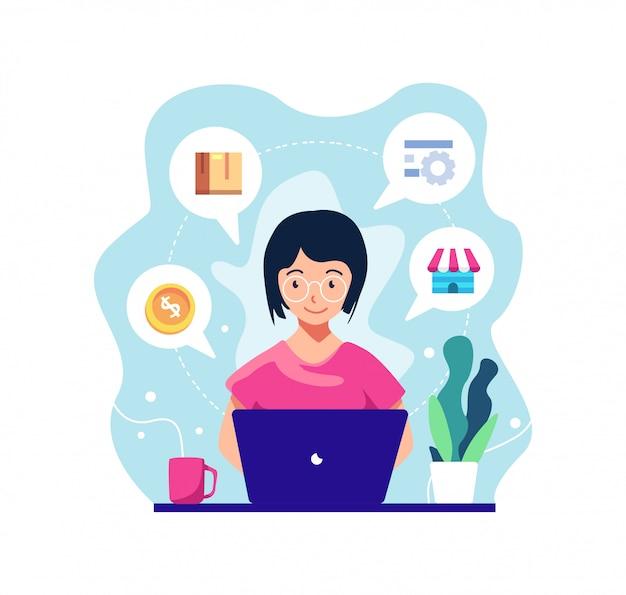 Meisje werken voor online winkelen