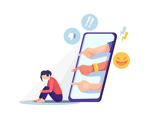 Meisje wordt online gepest. depressieve vrouw zittend op de vloer, cyberpesten concept. vectorillustratie in een vlakke stijl
