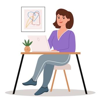 Meisje zit op een laptop in een gezellig en modern kantoor aan huis Premium Vector