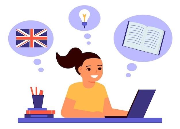 Meisje zit op laptop en leert een engelse les