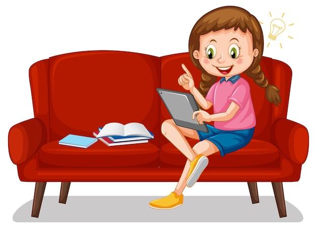 Meisje zittend op de bank leren van tablet