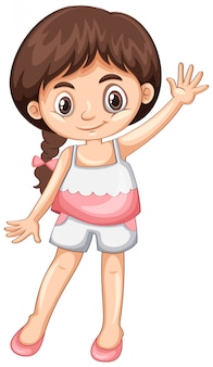 Meisje zwaaiende hand hallo