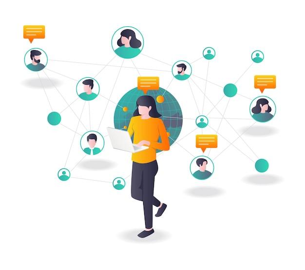 Meisjes communiceren met meerdere netwerken