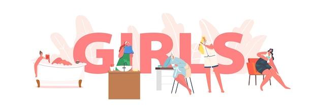 Meisjes dagelijkse routine concept. jonge vrouwelijke personages ochtendhygiëneprocedures neem een bad of douche, kam het haar met een borstel, breng een gezichtsmaskerposter, spandoek of flyer aan. cartoon mensen vectorillustratie