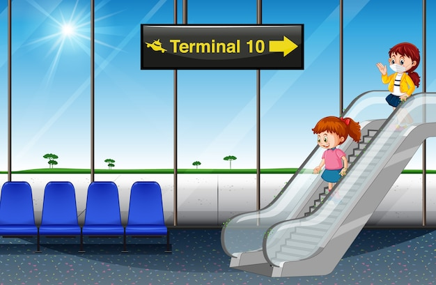 Meisjes die aankomen op de luchthaven