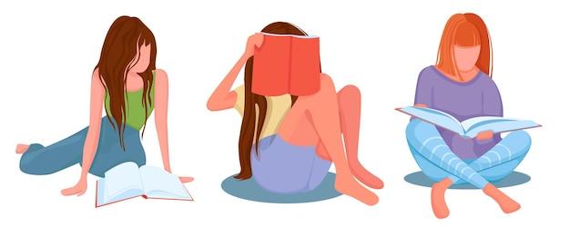 Meisjes die boeken lezen en naar tijdschriften kijken