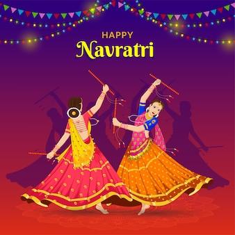Meisjes die dandiya spelen bij navratri happy durga puja navratri en dussehra banner