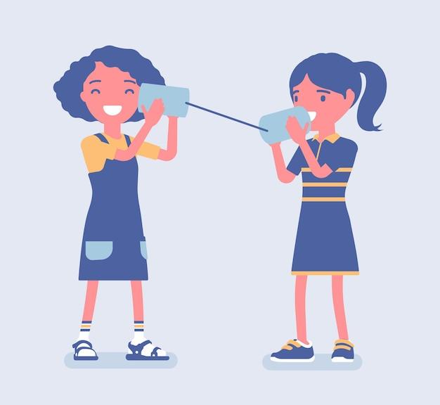 Meisjes die door een blikje telefoon spreken. twee vrienden die aan de telefoon spelen met een zelfgemaakt spraakzendapparaat, kinderen hebben plezier met spreken, wetenschappelijk spel en activiteiten. cartoon vectorillustratie in vlakke stijl Premium Vector