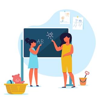 Meisjes die met blackboard-illustratie spelen
