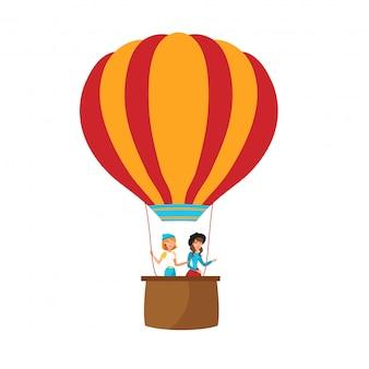 Meisjes die op ballon vlakke vectorillustratie vliegen