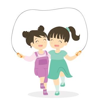 Meisjes die touwtjespringen samen beeldverhaalvector spelen