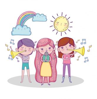 Meisjes die trompet spelen en zingen met zon en regenboog