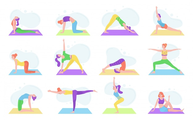 Meisjes die yoga in diverse asanasillustratie geïsoleerde reeks uitoefenen.