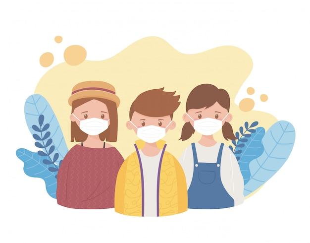 Meisjes en jongen met medisch masker, preventieadvies, coronavirus covid-19