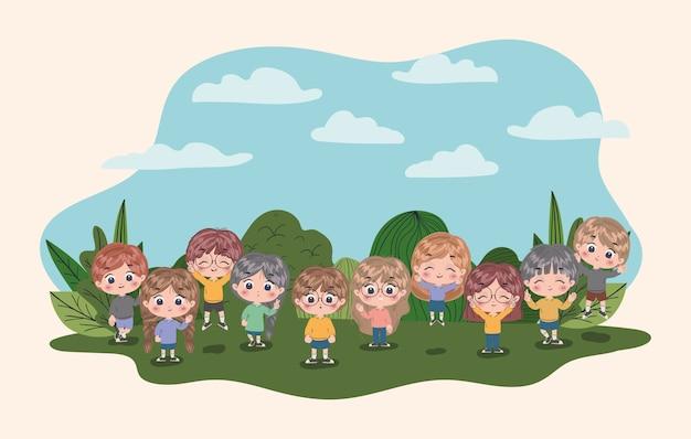 Meisjes en jongens cartoons, kinderen vriendschap jeugd kleine mensen levensstijl en persoon illustratie