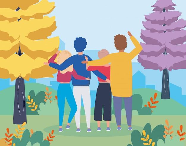 Meisjes en jongens koppelen met dennenbomen