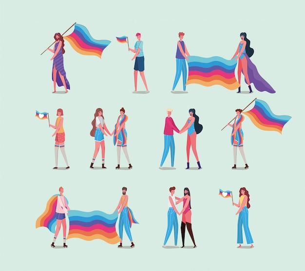 Meisjes en jongens met kostuums en lgtbi-vlag