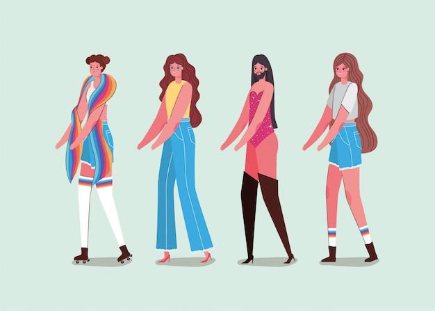 Meisjes en jongens met kostuums