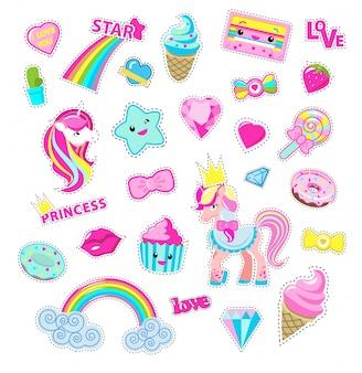 Meisjes fee stickers instellen. leuke cartoon pony prinsen, snoep en speelgoed platte vector geïsoleerd