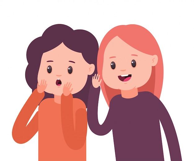 Meisjes fluisteren elkaar geheimen toe. vectorillustratie cartoon concept met twee roddel vrouwen geïsoleerd
