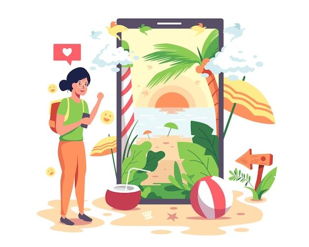 Meisjes gaan naar internet om op verschillende websites naar toeristische attracties te zoeken.