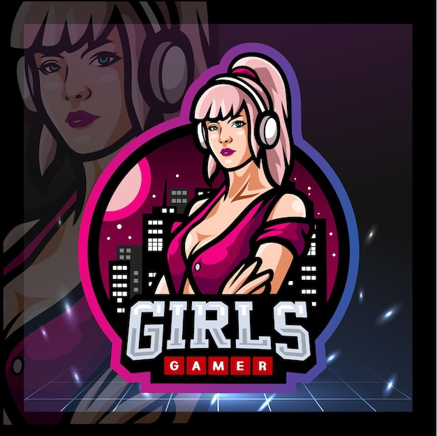 Meisjes gamer mascotte esport logo ontwerp