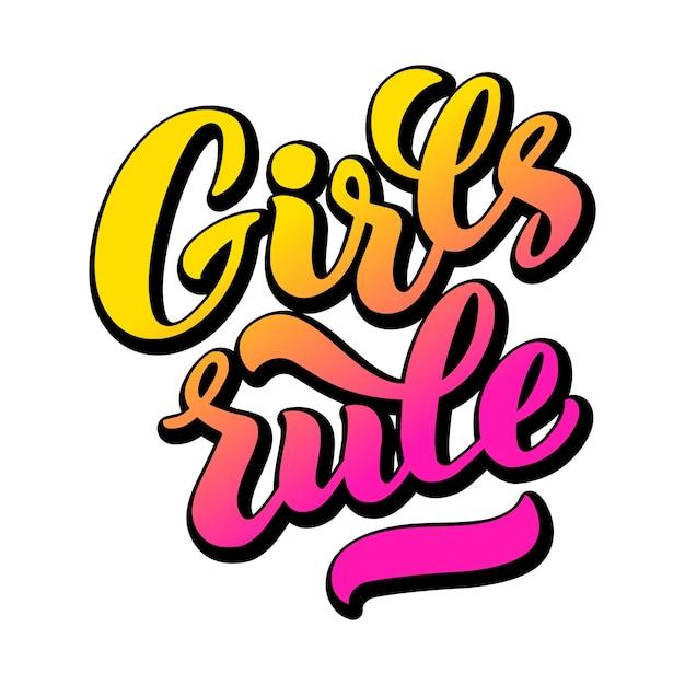 Meisjes heersen vector belettering van handgetekende meisjes regel hand belettering feministische slogan zin