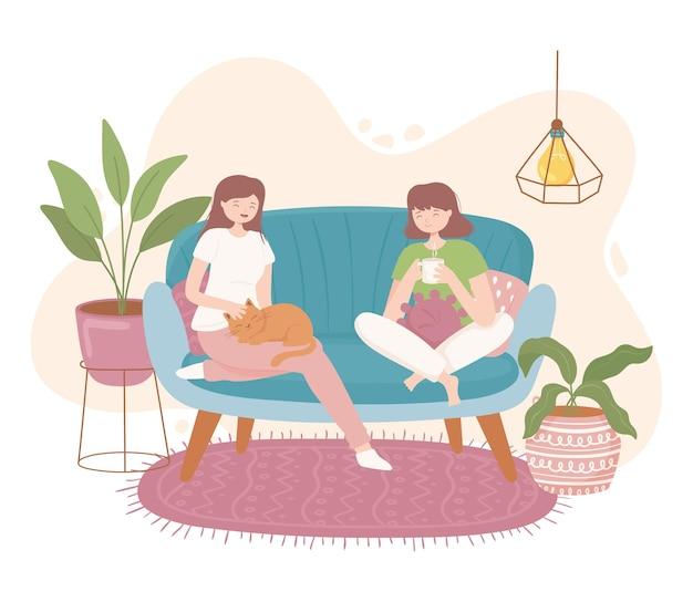 Meisjes in comfortabel huis