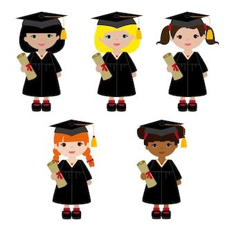 Meisjes in hun afstuderen