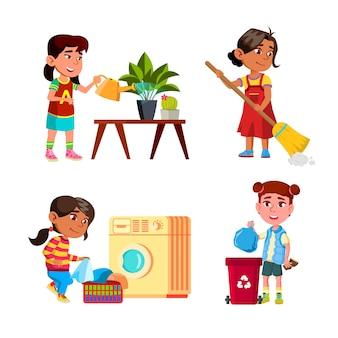 Meisjes kinderen schoonmaken en huishoudelijk werk instellen vector. kleine dames die de huisplant water geven en de vloer schoonmaken, kleren wassen in de wasmachine en afval weggooien. tekens platte cartoon illustraties