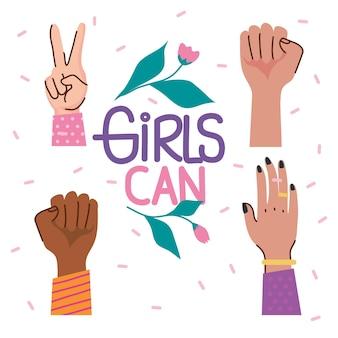 Meisjes kunnen belettering met rozen en diversiteit handen illustratie