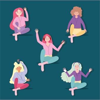 Meisjes luisteren naar muziek