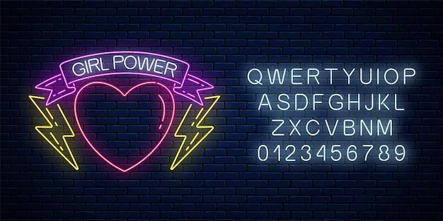 Meisjes macht teken in neon stijl met alfabet op donkere bakstenen muur achtergrond. gloeiend symbool van vrouwelijke slogan in lint met hart en bliksemvormen. vrouwenrechten. vector illustratie.