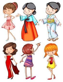Meisjes met verschillende kleding