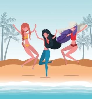 Meisjes met zomer badmode