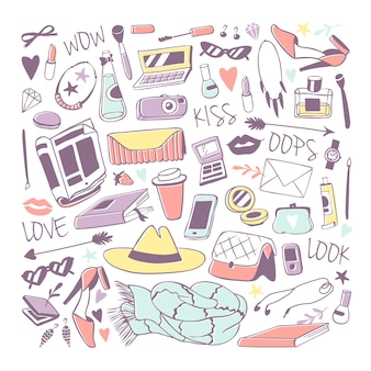 Meisjes mode-iconen stickers illustratie.