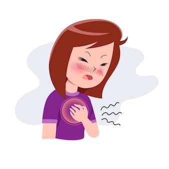 Meisjes of vrouw of mensen met een hartaanval. karakter met pijn op de borst. hartzeer. pijnlijke uitdrukking op het gezicht. ziekte concept. geïsoleerd. illustratie in platte cartoon stijl. gezondheid en medisch.