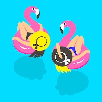 Meisjes op een opblaasbare roze flamingo in de zomer van zwemt en rust.