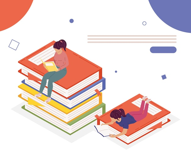 Meisjes paar leesboeken, boek dag viering illustratie ontwerp